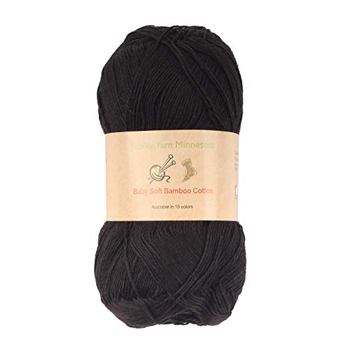 Baby Soft Bamboo Cotton Yarn - JubileeYarn - Black - 4 Skeins