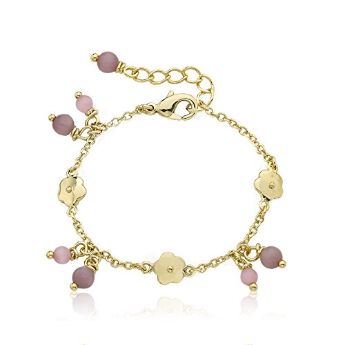 Little Miss Twin Stars Cat Eye 14k Gold-Plated Bracelet with Flowers and Pink Dangling Little Miss Twin Stars Cat Eye Balls,, 5.5