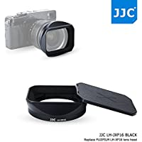 JJC Bayonet Black Square Metal Lens Hood Shade with ABS Slide-in Hood Cap for Fujifilm Fujinon XF 16mm F1.4 R WR Wide Angle Lens on X-Pro2 X-Pro1 X-T2 X-T1 X-T20 X-T10 X-E2S replaces Fuji Hood LH-XF16