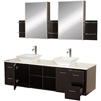 wyndham collection avara 72 inch double bathroom vanity in espresso with white manmade stone