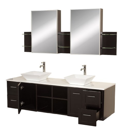Stone Double Sink Vanity - Wyndham Collection Avara 72 inch Double Bathroom Vanity in Espresso with White Man-Made Stone Top with White Porcelain Sinks