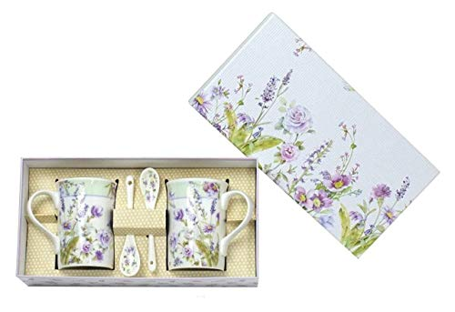 Lightahead Elegant Bone China Two Coffee Tea Mugs with Two Spoons set in Romantic Lavender Flower Design 11.2 oz each cup in attractive gift box (Royalty Cake Plate)