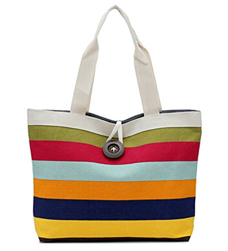 Ecokaki(TM) Fashion Ladies Shopping Bag Canvas Tote Purse Handbag Shoulder Bag, Red Striped