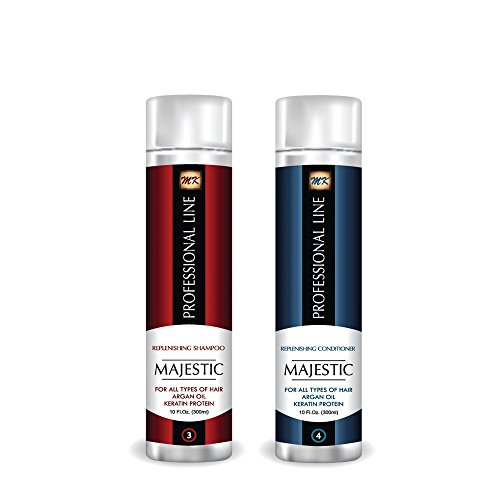 Price comparison product image Majestic Keratin Replenishing Shampoo + Conditioner 10oz(300ml)- Soduim Chloride & Sulfate Free