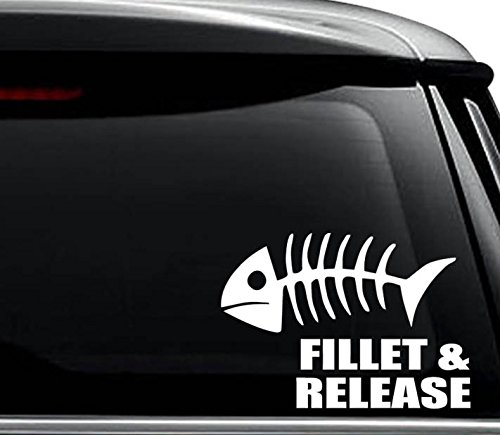 (Fillet and Release Fish Bones Hunting Decal Sticker For Use On Laptop, Helmet, Car, Truck, Motorcycle, Windows, Bumper, Wall, and Decor Size- [8 inch] / [20 cm] Wide / Color- Gloss White)
