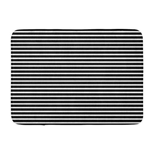 Stripes,Darkchocl Decorative Bath Mat Black and White Horizontal Absorbent Non Slip 100% Flannel 17''L x 24''W for Bathroom Toilet Bath Tub Living Room