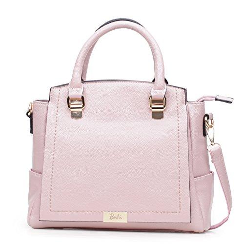 Barbie Bolso bandolera para Mujer Boloso a mano de estilo moderno y elegante BBFB590 32x24x12CM (Gris) Rosa