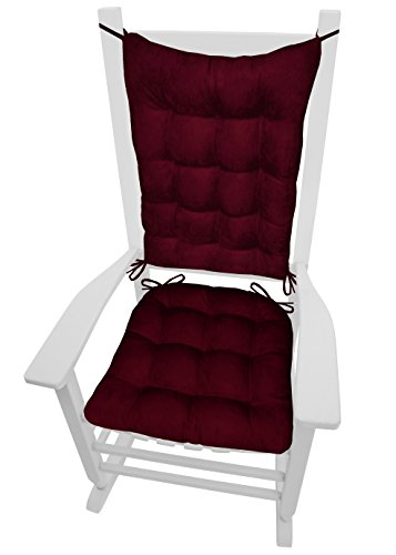 Barnett Products Rocking Chair Cushions - Microsuede Wine Red Micro Fiber Ultra Suede - Extra-Large - Reversible, Latex Foam Fill - Made in USA (Crimson Merlot)