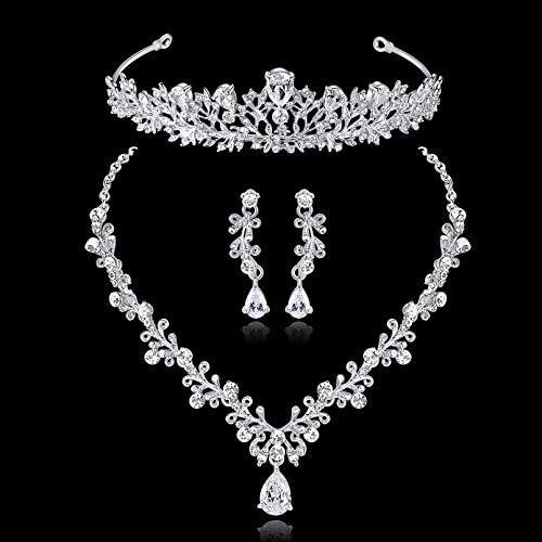 mecresh Clear AAA Collana e Orecchini con zirconi cubici Set di Gioielli da Sposa Tiara per spose Argento