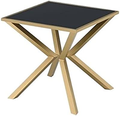 Coaster 705187-CO Glass Top End Table, Brushed Brass