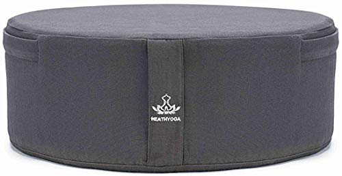 Heathyoga Zafu Yoga Meditation Cushion Round Bolster Pillow Filled with High Density Memory Foam, Certified Organic Cotton, Removable & Washable Cover, Easy-to-Carry Handle