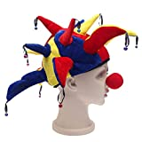 Funny Halloween Costume Party Supplies Props Jester Clown Hat with Nose