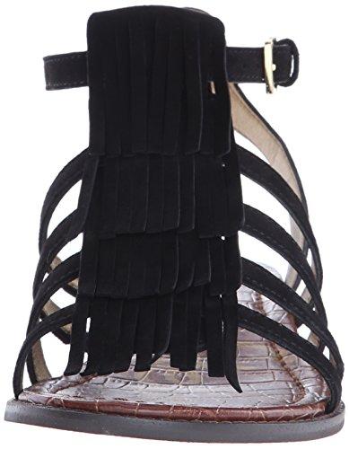Sandalia Sam Edelman Estelle en gamuza marrón cuero con franjas negro