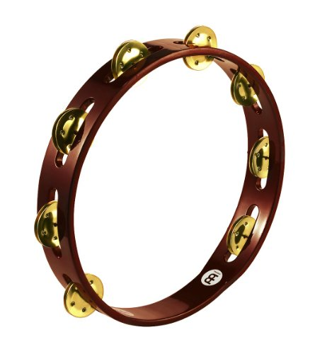 Meinl Percussion TA1B-AB Traditional 10-Inch Wood Tambourine with Single Row Brass Jingles by Meinl Percussion