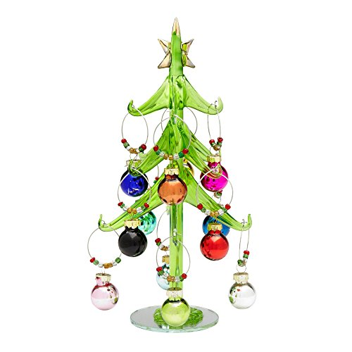 Festive Holiday Green Glass Christmas Tree Stand with 12 Wine Glass Charm Ornaments
