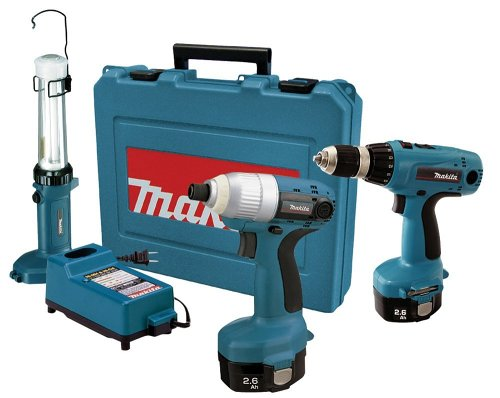 Makita 6935FDWDEX 14.4-Volt NiMH Cordless Impact Driver Kit with 6337 MForce Drill and ML143 Fluorescent Work Light (Discontinued by Manufacturer)