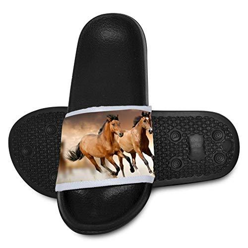 Tpnamop Kids Summer Slipper Horses Running House Slippers Shower Slide Anti-Slip Beach Pool Bath Sandals for Boys Girls Black