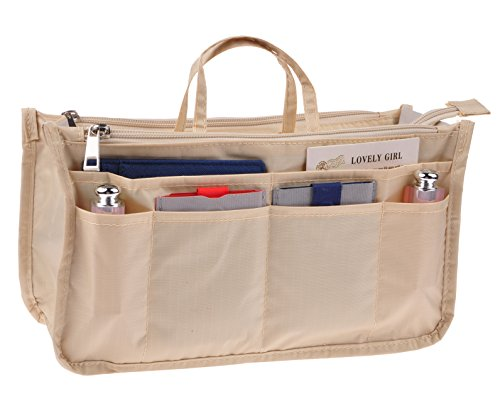 (Vercord Printed Purse Handbag Tote Insert Organizer 13 Pockets With Zipper Handle Milky Beige Large)