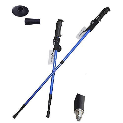 (Collapsible Tri-fold Trekking Pole/Hiking Poles 2 Pack - Adjustable Lightweight Aluminum Walking Sticks, Portable Trail Cane with Foam Grip,Blue)