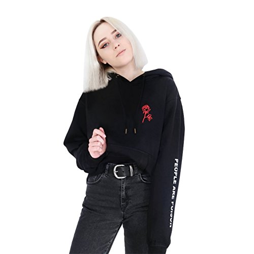 Loveble Women Hipster Punk Black Solid Color Floral Print Rose Embroidered Long Sleeve Pullover Hooded - Clothing Punk Hipster