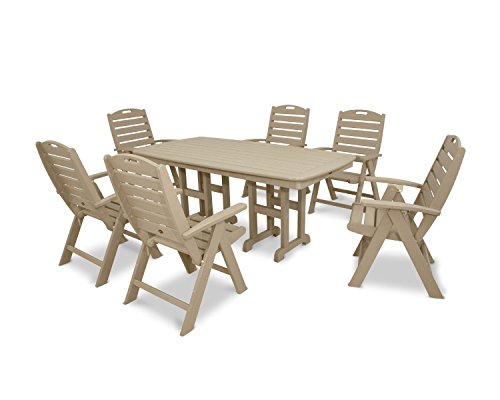 Trex Outdoor Furniture by Polywood 7-Piece Yacht Club Highback Dining Set, Sand Castle (Club Polywood)