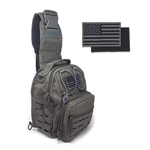 Gearrific Cross Body Tactical Sling Bag EDC Military Style Small Messenger Pack + Free Flag Patch (Gray)