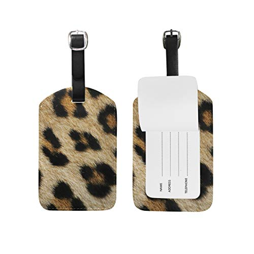 (2PCS Leather Leopard Print Pattern Luggage Tags Travel Baggage Labels Bag Tag)