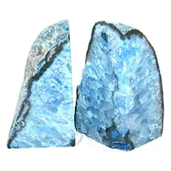 Zentron Crystal Collection: Large Pair of Polished Blue Agate Bookends (4-9 Pounds)