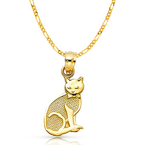 14K Yellow Gold Cat Charm Pendant with 2.3mm Figaro 3+1 Chain Necklace - 22