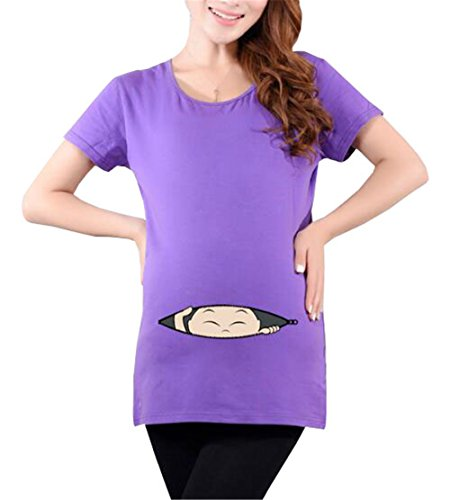 T Cotone Shirt Aivosen Purple5 Comoda Moda Taglie Maglietta Pregnancy T Stampate Popolare Estive Casual Maternity Forti Manica Donna Allentato Incinta Corta Top Shirt q8Fqrv