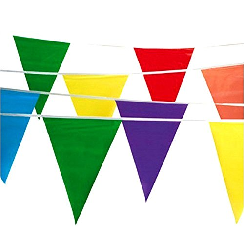 Tytroy 100 ft Multicolor Pennant Flag Banner Party Decor Grand Opening Festival Decoration