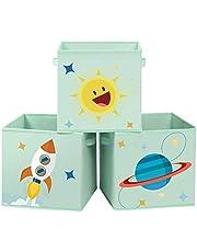 SONGMICS 3-częściowy zestaw pudełka do przechowywania z materiału, 30 x 30 x 30 cm, organizer na zabawki, składane, z 2 uchwytami, do pokoju dziecięcego, pokoju zabaw i sypialni, zielone RFB001G03