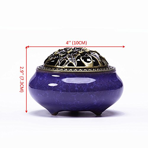 UOON Ceramic Incense Burner & Incense Holder for Stick Incense, Cone incense and Coil Incense with Ash Catcher