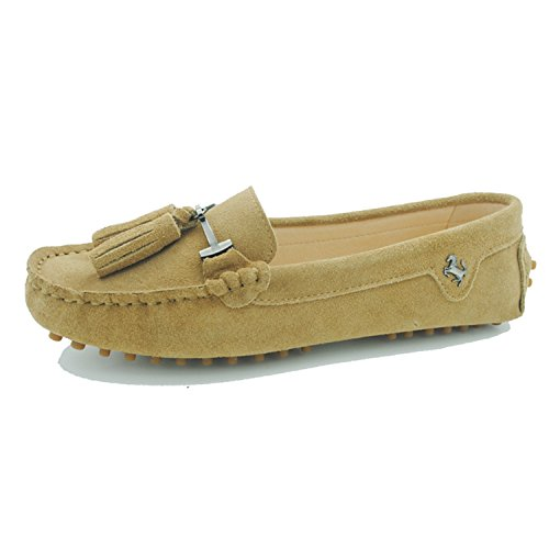 Minitoo Girls Womens Fashion Slip On Tassel Suede Leather Loafers Boat Shoes Flats Moccasins Suede-Light Tan LanlXaCsi