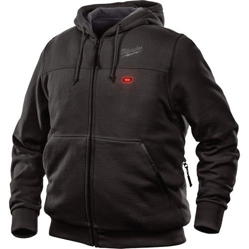 Milwaukee Jacket M12 12V Lithium-Ion Heated Hoodie KIT Front and Back Heat Zones -All Sizes and Colors - Battery and Charger Included - (Extra Large, Black)