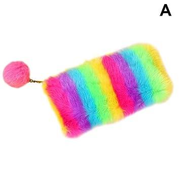 ASOSMOS - 1 estuche de lápices de colores arcoíris de felpa ...