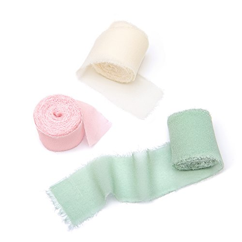 "Ling's Moment Handmade Fringe Chiffon Silk-Like Ribbon 1-1/2"" x 6Yd, 3 Rolls Light Green/Light Pink/Ivory Ribbons for Wedding Bouquets Invitations Gift Wrapping Decor"
