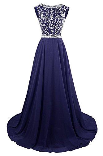 Abendkleid Mingxuerong Cocktailkleid Chiffon Navy Blau Promkleider Lange Glitzer Partykleider Brautjungfer Perlen gRRWdPn
