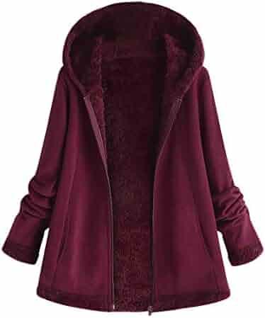 dae7bf0c84001 Sunmoot Hoodie Coat for Womens Plus Size Winter Warm Long Sleeve Pocket  Oversize Parka Jacket(