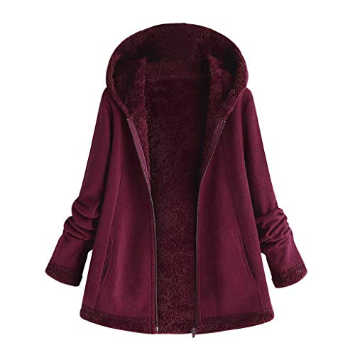 Women's Plush Hoodie Coat Fashion Winter Warm Solid Color Zipper Outwear Ladies Long Sleeve Pocket Oversize Overcoat ()