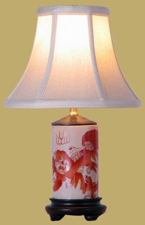 """Asian Décor - 14"""" Fine Chinese White Porcelain Foo Dog Design Brush Pot Oriental Desk Lamp"""