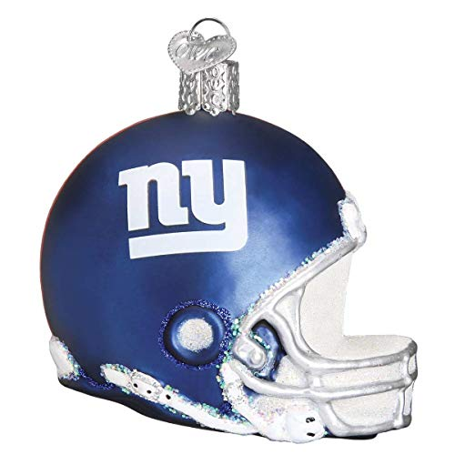 Personalized New York Giants Helmet Glass Blown Christmas Ornament for Tree by Old World Christmas (Ornament Glass New York Giants)