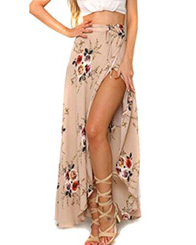 Moda Falda Larga Estampada Flor Maxi Boho Verano para Mujer Vestido Pareo Playa Bikini Cover Up Ropa de Playa Fiesta Caual Vacación Rosado