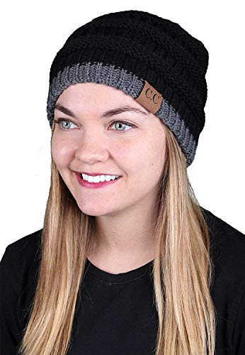 H-6020-570621 Funky Junque Solid Ribbed Beanie - Stripe Black/Grey
