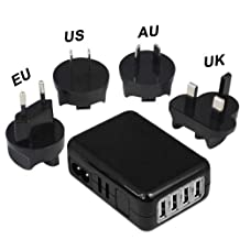 Honored Quality G4GADGET® Universal Black 4-Usb Ports 2.1A Travel Charger Worldwide International Mains Wall Charger Travel adapter with UK/EU/US/AU charger plug Power Socket outlet usb charger for iPod shuffle/iPod Touch/iPod Nano,iPhone 6/6+ 5/5S/5C/4/4S/3/3GS, New iPad 4/Ipad3/IPAD 2/Ipad Mini, Blackberry,Samsung S4, S3 , HTC Mobile Phone charger,Smart phone charger, PSP/GPS,eBook reader, mp3 /mp4 Player Home Charger BTC20B