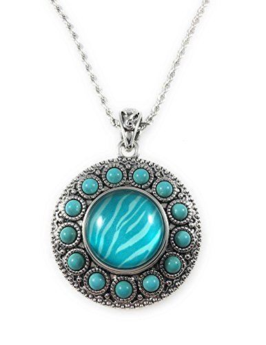 Snap Charm Pendant Turquoise Beaded Border Stainless Steel 18