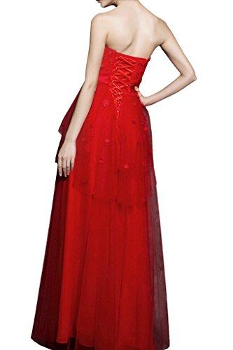 La_mia Braut Einfach rot Stoffblumen Abendkleider Partykleider Brautjungfernkleider lang A-linie