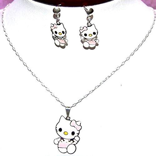 Bijoux Kids–Juego de joyas niño Hello Kitty 2piezas bailarina rosa–tono plata