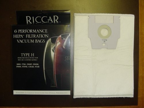 Genuine Riccar Type H Hepa Filtration Vacuum Cleaner Bags (6 pack) -