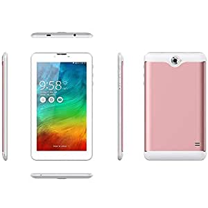 Cewaal 7 inch Phablet Unlocked 3G, Quad Core Android Tablet PC/Smartphone, 8GB Wifi Bluetooth OTG Dual Camera, IPS 1024X600 Display, support Google Play Store, Youtube, Netflix, Rose Gold